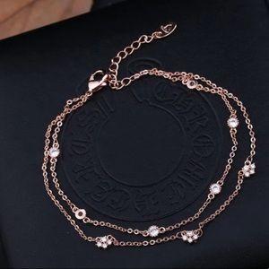 Rose Gold Diamond Double Chain Bracelet
